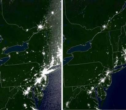 North American Blackout - Satellite map of us