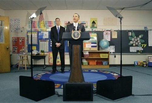Obama Uses Teleprompter for Speech to 6th Graders?
