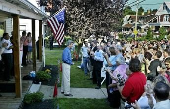 John Kerry at the home of Dale and Judy Rhome in Canonsburg, PA
