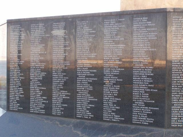 names of the persons killed on 9 11 are inscribed on the base like the vietnam memorial wall it was a cold and windy day but well worth the drive to see